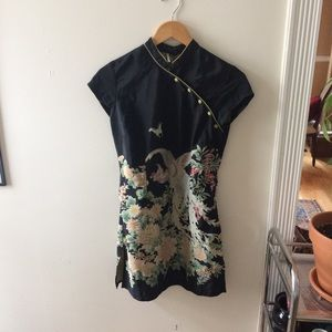 Top Shop Botanical Cocktail Dress, Mandarin Collar
